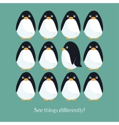 Motivating card with funny penguins vector image
