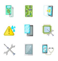 phone repair tool icons set cartoon style vector image