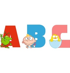 Abc joyful cartoon alphabet vector