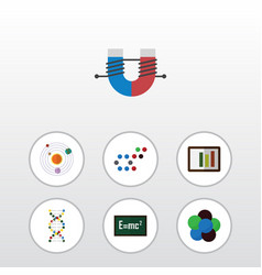 Flat icon study set of attractive force proton vector
