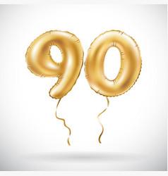 golden number 90 ninety metallic balloon party vector image