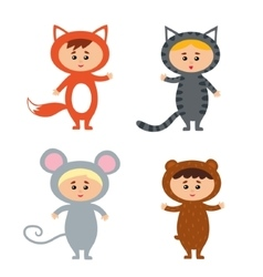 kids wearing animal costum vector image