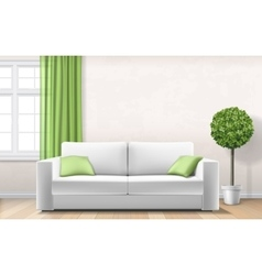 modern interior with sofa window green curtain vector image