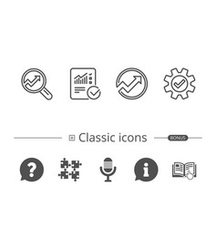 analysis line icons chart report and service vector image