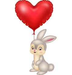 cartoon bunny holding red heart balloons vector image