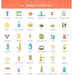 drinks color flat icon set Coffee alcogol vector image