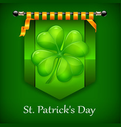 green lucky four leaf irish vector image vector image