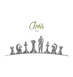 Hand drawn man standing between chessmen vector image vector image