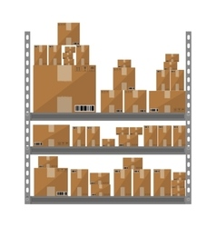 Metallic shelves with cartoon brown boxes part of vector image