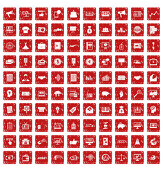 100 e-commerce icons set grunge red vector