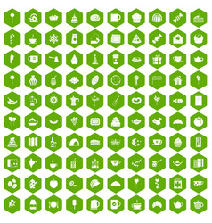 100 tea party icons hexagon green vector image