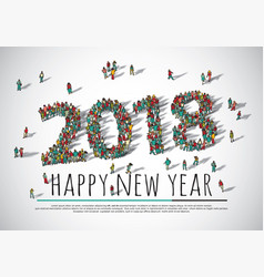 2018 happy new year crowd big group people vector