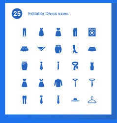 25 dress icons vector image