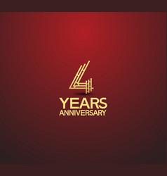 4 years golden anniversary logotype vector