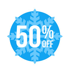 50 off sticker winter sale vector