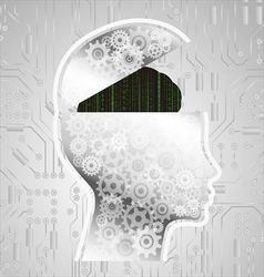 Abstract matrix code brain vector image