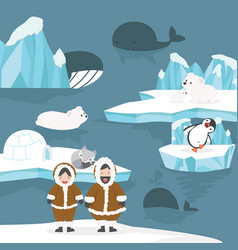 animals and people arctic cartoon background vector image