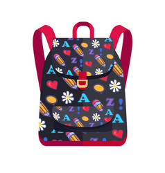 Backpack made of fabric with red heart flower vector