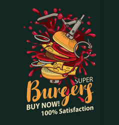 Banner with super burger in retro style vector