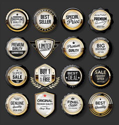 black and gold badges super sale collection 01 vector image