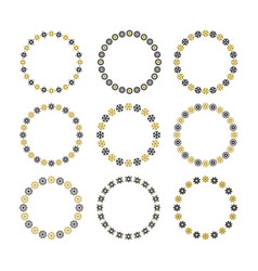 Black and golden empty circle floral emblems set vector