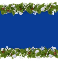 Blue Christmas Border with Beads vector image