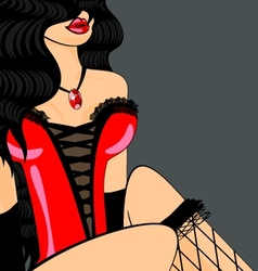 brunette in red corset vector image