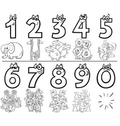 Cartoon numbers set coloring book with animals vector