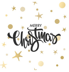 christmas hand drawn gold lettering design vector image