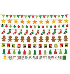 christmas lights and holiday banners set vector image