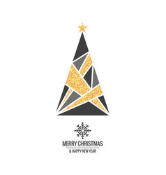christmas tree with gold ornaments and xmas vector image