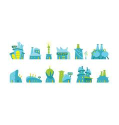 city future fantastic set alien buildings vector image