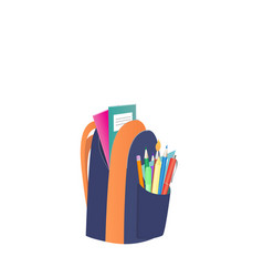colored school backpack with school supplies vector image