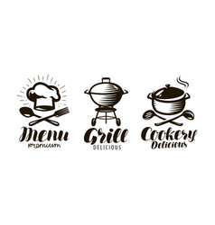 Cookery grill menu logo or label food concept vector