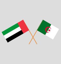 Crossed flags algeria and united arab emirates vector
