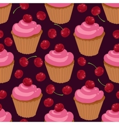 Cupcakes with cherries seamless pattern vector