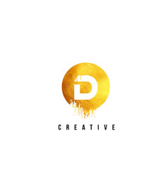 D gold letter logo design with round circular vector