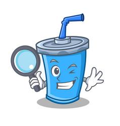 Detective soda drink character cartoon vector