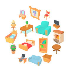 different furniture icons set cartoon style vector image