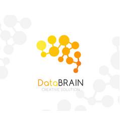 Digital brain logo template yellow colors vector