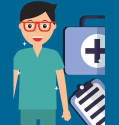 doctor in glasses with kit first aid and clipboard vector image