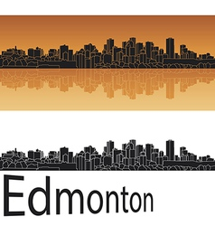 Edmonton skyline in orange background vector