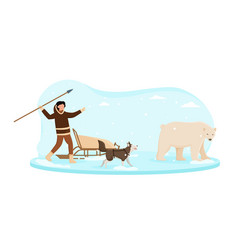 eskimo wearing traditional clothes hunting on vector image
