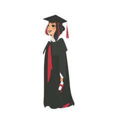 flat girl graduate in gown cap vector image