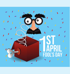 Funny box with entertainment mask to fools day vector