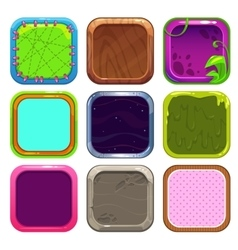 Funny cartoon square frames for app icons design vector