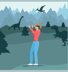 girl with virtual reality glasses vector image