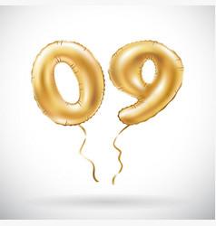 golden number 0 9 zero nine metallic balloon vector image