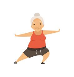 grey senior woman doing sports grandmother vector image