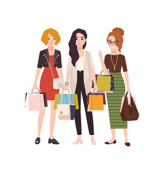 Group of young happy woman holding shopping bags vector